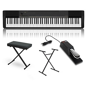 Casio CDP-130 Digital Piano with Stand Sustain Pedal and Deluxe Keyboard Be...