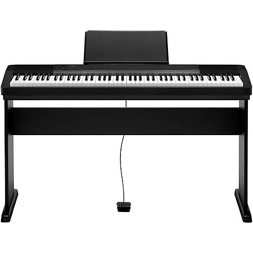 casio cdp 135 88 key digital piano with wood stand and sustain pedal black guitar center. Black Bedroom Furniture Sets. Home Design Ideas
