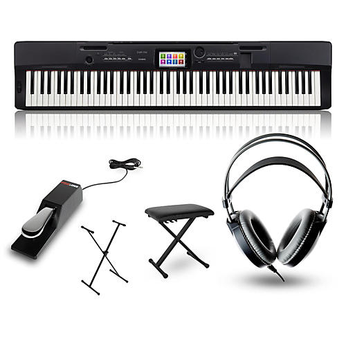 Casio CGP-700BK Digital Compact Grand Piano with Stand, Sustain Pedal, Deluxe Keyboard Bench and Headphones-thumbnail