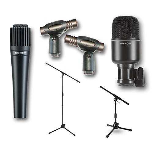 CAD CM217 Overhead Mics with Digital Reference DRI100 Instrument Mic and Gear One MK1000 Kick Drum Miking Kit