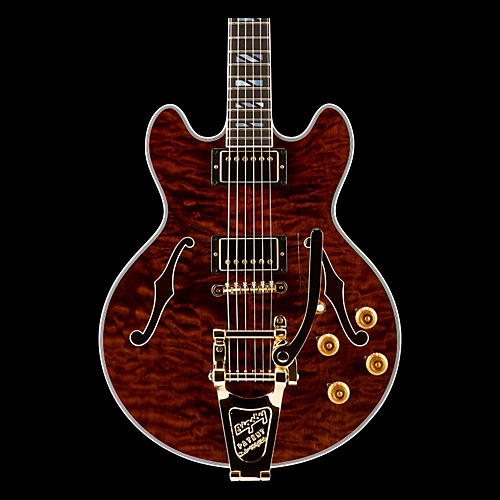 Gibson CS 356 Figured Walnut with Gold Bigsby Electric Guitar-thumbnail