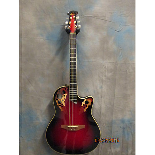 Ovation CS257 Candy Red Burst Acoustic Electric Guitar-thumbnail