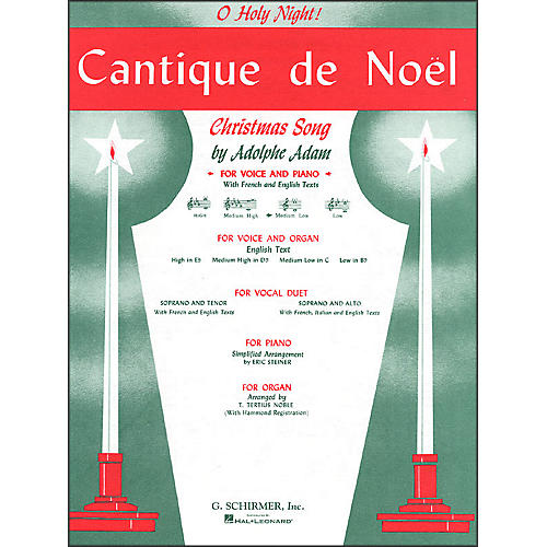 G. Schirmer Cantique De Noel (O Holy Night) for Medium Low Voice In C By Adam / Deis-thumbnail