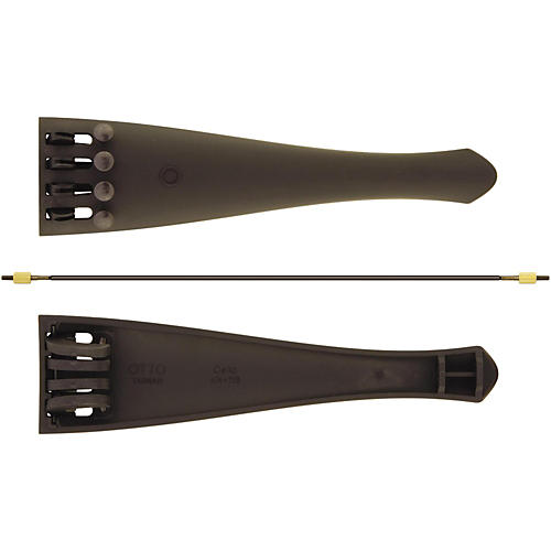 Otto Musica Carbon Composite Cello Tailpiece with Four Built-In Fine Tuners and Braided Steel Tailgut