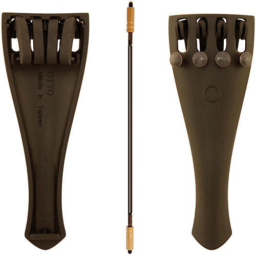 Otto Musica Carbon Composite Viola Tailpiece with Four Built-In Fine Tuners and Braided Steel Tailgut-thumbnail