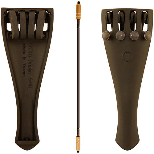 Otto Musica Carbon Composite Violin Tailpiece with Four Built-In Fine Tuners and Braided Steel Tailgut-thumbnail