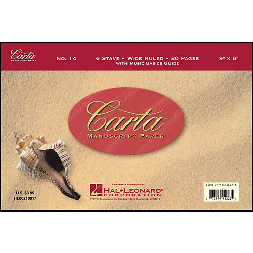 Hal Leonard Carta 14Manuscript Wide Ruled, 9X6, 80 P, 6 Stave, Wide