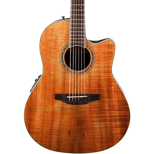 Ovation Celebrity Standard Plus Mid Depth Cutaway Acoustic-Electric Guitar Figured Koa