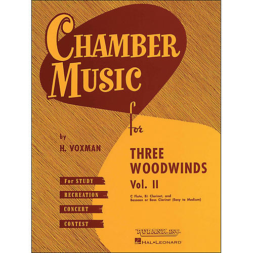 Hal Leonard Chamber Music for Three Woodwinds Vol. 2 Easy To Medium Flute/Clarinet/Bassoon/Or Bass Clarinet-thumbnail
