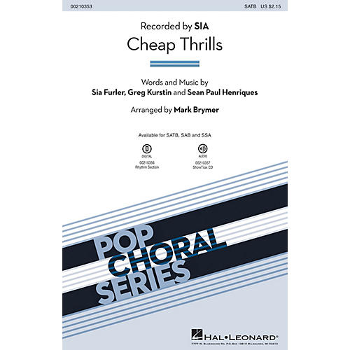 Hal Leonard Cheap Thrills SATB by Sia arranged by Mark Brymer