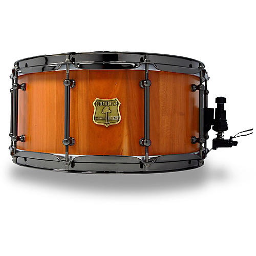 OUTLAW DRUMS Cherry Stave Snare Drum with Black Chrome Hardware-thumbnail