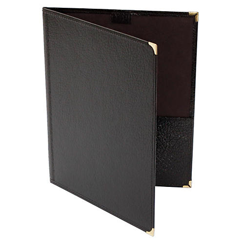 Deer River Choral Leatherette Folio With Pencil Loop Bottom Pockets Black 9x12
