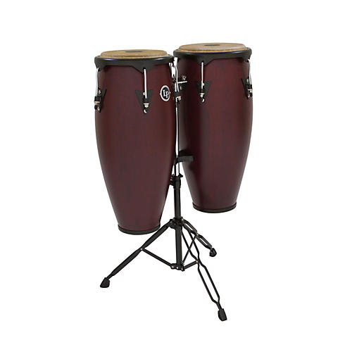 LP City Conga Set with Double Stand Dark Wood 10 in. and 11 in.