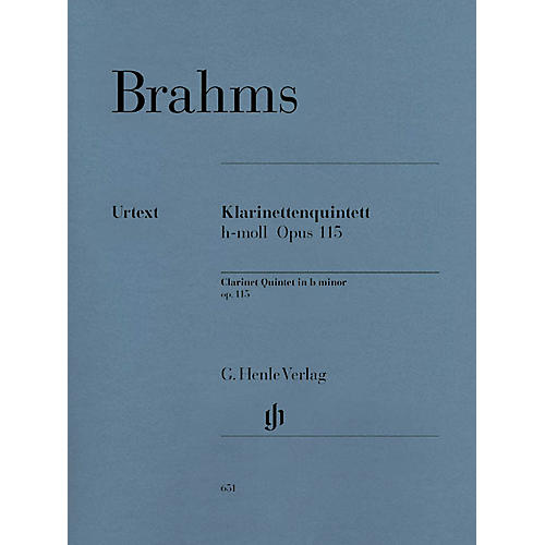 G. Henle Verlag Clarinet Quintet B minor Op. 115 Henle Music Folios Series Softcover by Johannes Brahms