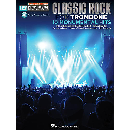 Hal Leonard Classic Rock - Trombone - Easy Instrumental Play-Along Book with Online Audio Tracks-thumbnail