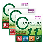 Cleartone Coated Extra Light Acoustic Guitar Strings Buy Two Get One Free