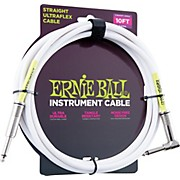 Ernie Ball Coiled Straight-Angle Instrument Cable - White