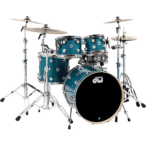 DW Collector's Series 4-Piece Finish Ply Teal Glass Shell Pack with Chrome Hardware