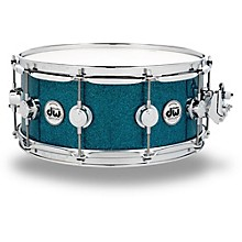 DW Collector's Series Finish Ply Teal Glass Snare Drum with Chrome Hardware
