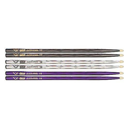 Vater Color Wrap 5B Hickory Drumstick 4-Pack Black Optic 5B