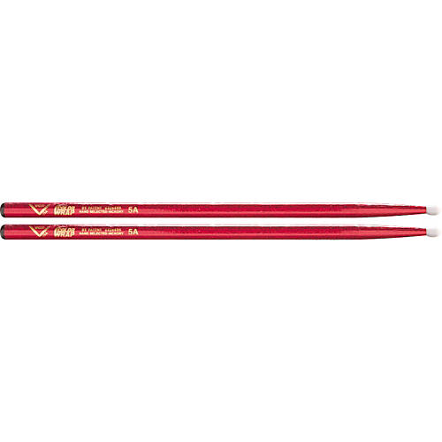 Vater Colorwrap Nylon Tip Sticks - Pair Red Sparkle 5A
