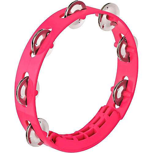 Nino Compact ABS Plastic Handheld Tambourine 8 in. Strawberry Pink
