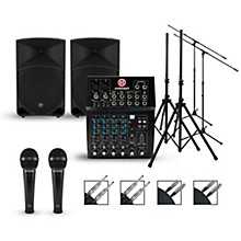 Harbinger Complete PA Package with L802 Mixer and Mackie Thump Speakers