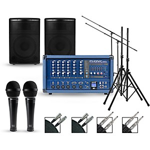 Phonic Complete PA Package with Powerpod 630R Mixer and Kustom KPX Speakers by Phonic