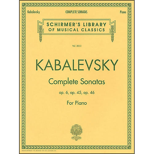 G. Schirmer Complete Sonatas Opus 6, 45, 46 By Kabalevsky-thumbnail