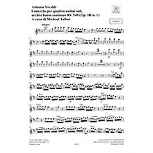 Ricordi Concerto D Major 4 Violins Strings Continuo Rv549 (op. 3, No. 1) Parts String Orchestra by Vivaldi