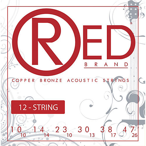 Red Strings Copper Bronze 12-String Acoustic Guitar Strings Light-thumbnail