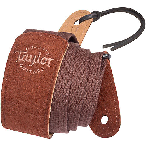 Taylor Cotton Guitar Strap with Suede Ends Chocolate
