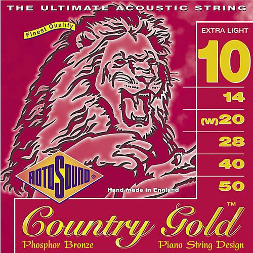 Rotosound Country Gold Extra Light Phosphor Bronze Acoustic Guitar Strings