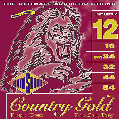 Rotosound Country Gold Light Medium Phosphor Bronze Acoustic Guitar Strings