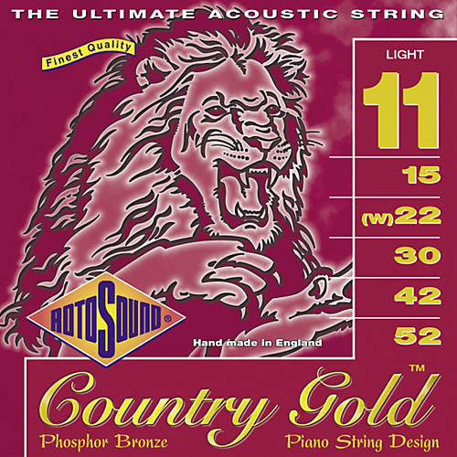 Rotosound Country Gold Light Phosphor Bronze Acoustic Guitar Strings