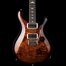 Custom 24 Flame Top Electric Guitar with Pattern/Thin Neck Black Gold Burst