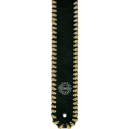 DiMarzio Custom Italian Black Leather Whipstitch Guitar Strap