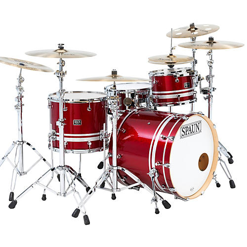 Spaun Custom Shop 3-Piece Maple Shell Pack Rich Red Sparkle with Silver Stripes-thumbnail