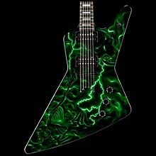 Dean Custom Z Hand Painted Graphic Electric Guitar Lightning Skeleton Green