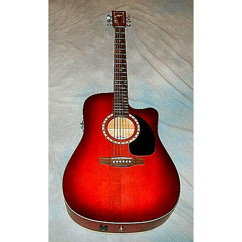 Art & Lutherie Cw Spruce Burgundy Qi Acoustic Electric Guitar