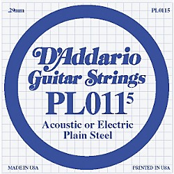 D'Addario 10-Pack Plain Steel Single Gauge Acoustic or Electric Guitar String (PL0115 10-PACK)