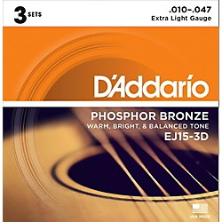 D'Addario EJ15 Phosphor Bronze Extra Light Acoustic Strings 3-Pack (EJ15-3D)