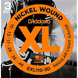 D'Addario EXL110 Nickel Light Electric Guitar Strings 3-Pack (EXL110-3D)