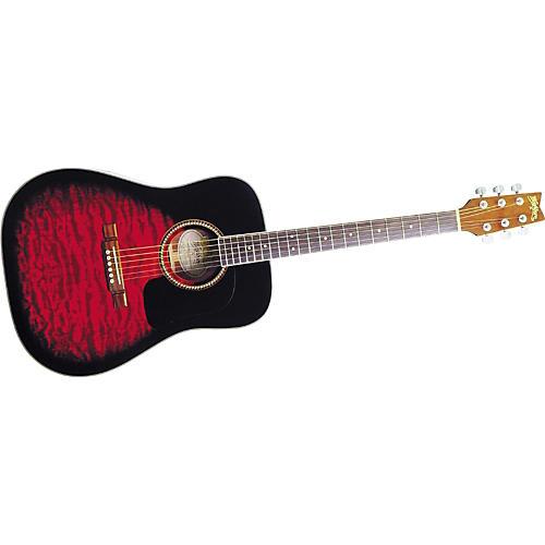 Washburn D10QSB Sunburst Quilt Top Dreadnought Acoustic Guitar w/case
