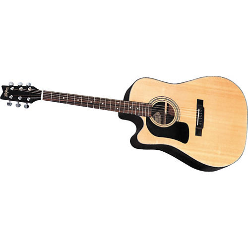 Washburn D10SCELH Left-Handed Cutaway Dreadnought Acoustic-Electric Guitar w/case-thumbnail