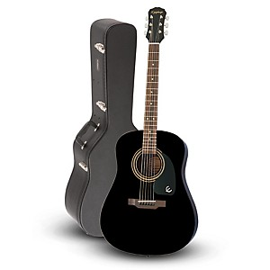 Epiphone DR-100 Acoustic Guitar Black with Road Runner RRDWA Case by Epiphone
