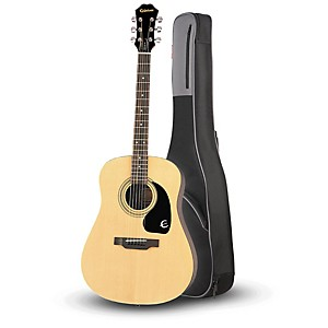 Epiphone DR-100 Acoustic Guitar Natural with Road Runner RR1AG Gig Bag by Epiphone