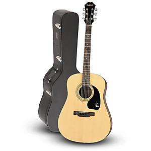 Epiphone DR-100 Acoustic Guitar Natural with Road Runner RRDWA Case by Epiphone
