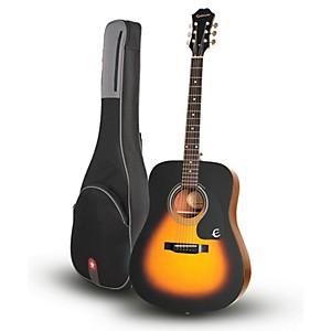 Epiphone DR-100 Acoustic Guitar Vintage Sunburst with Road Runner RR1AG Gig... by Epiphone