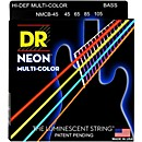 DR Strings Hi-Def NEON Multi-Color Coated Medium 4-String Bass Strings (NMCB-45)